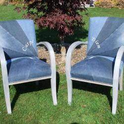 Paire de fauteuils Bridges en patchwok de Jean's bleus